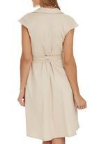 edit - Structured Wrap Dress Stone/Beige