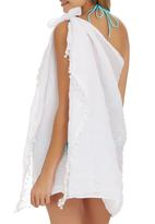 Lithe - Sarong with Bobble Trim White