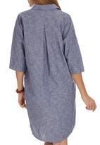 JUST CRUIZIN - Chambray Shirt Dress Mid Blue