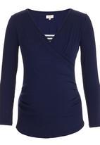 edit Maternity - Cross-over Long Sleeve T-shirt Navy