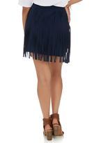 c(inch) - Fringed Mini Skirt Navy