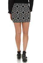 Suzanne Betro - Diamond Bodycon Skirt Black Black and White
