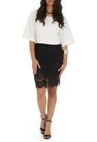 c(inch) - Lace midi skirt Black