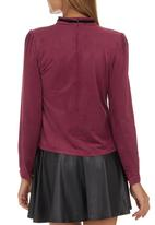 Suzanne Betro - Suede Blouse with Brooch Red Red