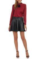 c(inch) - High-waist Mini Skater Skirt Black Black