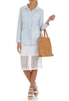 Suzanne Betro - Drawstring Shirt Blue Blue and White