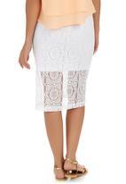 Shoez Group - Lace Midi Skirt White White