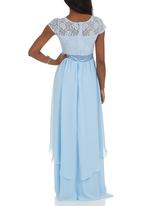 ELIGERE - Layered Lace and Chiffon Gown Pale Blue