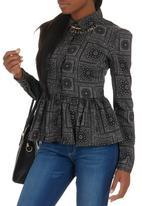 Paramita - Printed Peplum-style Shirt Black