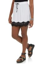 c(inch) - Mini Skirt with Lace Detail White