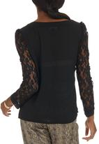 Suzanne Betro - Chiffon Lace-sleeve Blouse Black