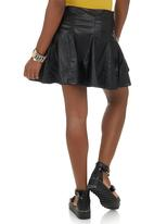 Suzanne Betro - PU pleated skirt Black