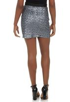 c(inch) - Sequin Mini Skirt Silver