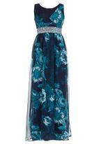 ELIGERE - Embelished V-neck Gown Multi-colour