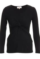 edit Maternity - Knot Top Long Sleeve Black