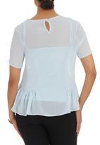 edit - Blue peplum blouse Pale Blue