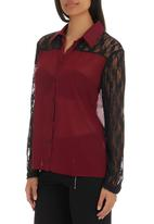 c(inch) - Lace detail shirt Dark Red