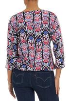 edit - Tribal-print Peasant Top Blue/White