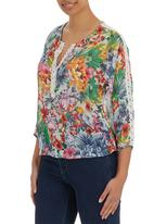 edit - Garden-print Peasant Top Multi-colour
