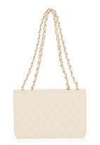 Vikson  - Quilted Shoulder Bags with Bow Detail Neutral