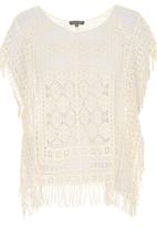 G Couture - Fringe Crochet Throw-over Top Stone/Beige