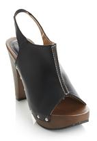 Awol - Sling Back Wooden Heels Black