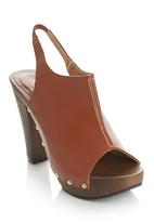 Awol - Sling Back Wooden Heels Camel/Tan