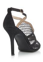 Diva - Mesh Ankle Strap Open toe Heels Black
