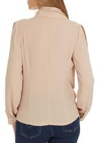 G Couture - Mock Wrap Blouse Stone/Beige