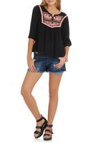 G Couture - Embroidered Boho Top Black