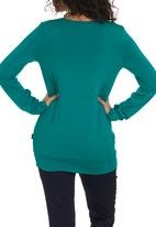 Cherry Melon - Pleat Top with Long Sleeves Mid Green