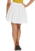 c(inch) - Flared Peasant Mini Skirt White
