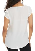 Suzanne Betro - Blouse with Gold Zipper Detail White