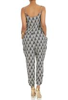 Suzanne Betro - Printed Jumpsuit Blue and White