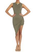 London Hub - High Neck Asymmetric Drape Dress Khaki Green