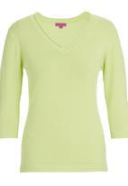 Passionknit - 3/4 Sleeve V-neck Jumper Light Green