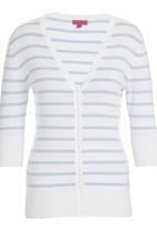 Passionknit - Candy Stripe 3/4 Sleeve Cardi Pale Blue
