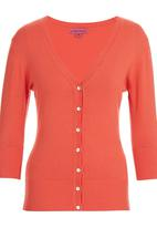 Passionknit - 3/4 Sleeve V-neck Cardi Orange