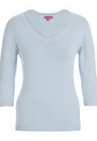 Passionknit - 3/4 Sleeve V-neck Jumper Pale Blue