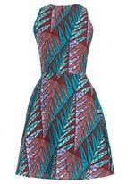 Black Velvet - African Print Dart Cami Dress Turquoise
