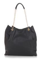 BLACKCHERRY - Slouchy Handbag with Metal Sling Black