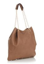 BLACKCHERRY - Slouchy Handbag with Metal Sling Dark Brown