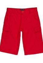 Retro Fire - Boys Twill Shorts Red