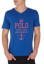 POLO - Printed V-Neck Blue Mid Blue