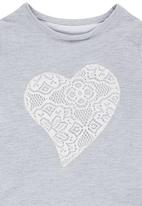 Rebel Republic - Sweater with Lace Heart Applique Grey