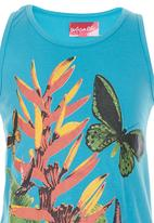 POP CANDY - Tropical Print Top Turquoise