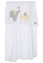 Myang - Elephant Print Blanket White