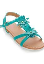 Foot Focus - Floral Sandal Green