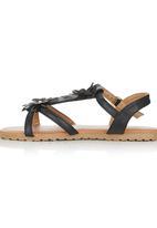 Foot Focus - Floral Sandal Black