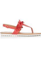 Foot Focus - Floral Sandal Red